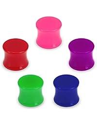ManoaShark 5er Set Tunnel Plug Piercing Flesh Acryl Blau Grün Rot Lila Pink