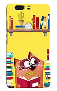 Omnam Cat Studying With So Many Books Printed Designer Back Case For Huawei Honor V8