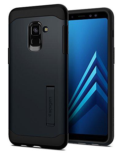 Spigen [Slim Armor] Samsung Galaxy A8 2018 Hülle, 2-teilige Doppelte Schutzschicht Handyhülle mit Integrierten Kickstand Schutzhülle Case (Metal Slate) 590CS22752