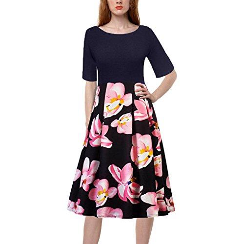 UFACE Frauen Kleid Mit FüNf äRmeln Und Rundhalsausschnitt Vintage Floral Bedruckt Patchwork Halbe HüLse Casual Abend Party (M, Wassermelonenrot) (Alte Mode-prom Kleider)