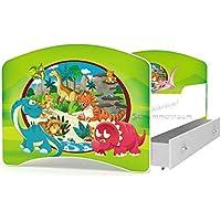 Preisvergleich für Kinderbett Spielbett Babybett 140x80 / 160x80 cm für Jungen und Mädchen mit Matratze + Schublade + Lattenrost + Bettbezug mit Rausfallschutz-- 28 Motive zur Auswahl (22 Dinosaurier, 80 x 140 cm)