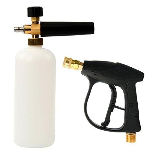 FreeTec Pulizia Pistola Pulizia Dispositivo con Schiuma 1L Neve Schiuma Cannone Lancia Strumento Pressione rondella per Auto Lavaggio (Pistola e 1L Foam Bottiglia)
