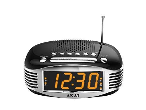 Akai AR400BK Retro Reloj Despertador con Am/FM AR400, Negro, Plata