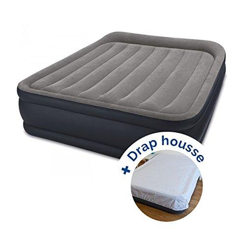 RAVIDAY Pack Matelas Electrique Gonflable Intex Rest Bed Deluxe Fiber-Tech 203 x 152 x 42 cm + Drap Housse