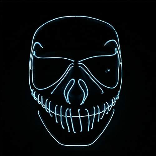 (Queta Halloweenmaske Kreative LED-Maske beleuchtet EL Wire Horrormaske Purge Maske Kostüm für Party Halloween Weihnachten Dekoration Maskade Cosplay Party Show Festival Kostüm. (weiß))