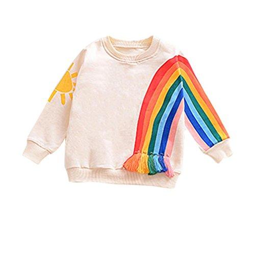 Neugeborenen-größen-diagramm (Amlaiworld Baby Mädchen Regenbogen drucken langarmshirt winter bunt sport Quaste sweatshirt Kleinkind warm pullis,0-36Monate (Gelb, 12 Monate))