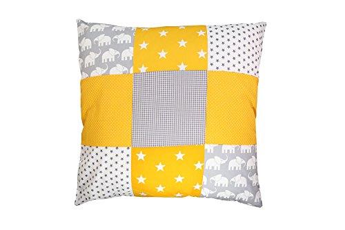 Funda patchwork para cojín de ULLENBOOM ® con elefantes amarillo (funda para...