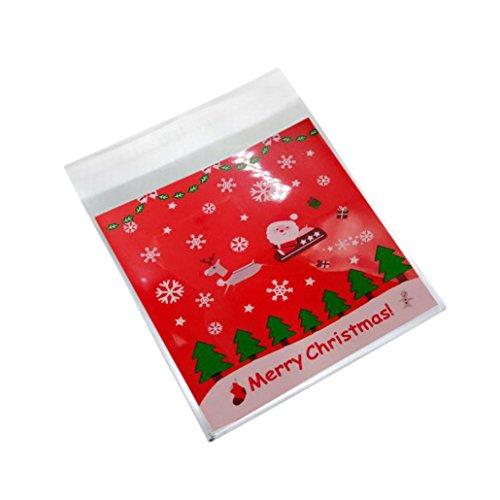 chtsbevorzugtaschen, Weihnachtsbaum-hängende Geschenkbeutel, Selbstklebendes Plastikdichtungs-Beutel, DIY Plätzchen Süßigkeit Verpackungs Beutel, Süßigkeiten Partytüten Candy Bags (H) (Cookie-bevorzugung Taschen)