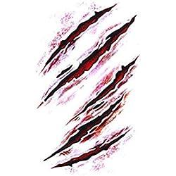 mxdmai Halloween Körper- Aufkleber Zombie Scars Vampire Narben Tattoo Horror realistisch gefälschte blutige Wunde temporäre Tätowierung Prank Make-up Requisiten 5 Blatt (170)