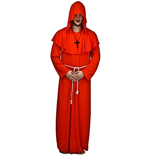 Rote Kostüm Männer Haare - SEA HARE Adult Männer Kapuzen Mönch Robe Kostüm (Rot)