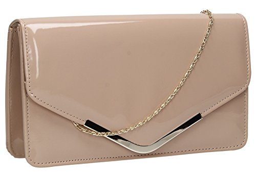 zara-patent-leather-envelope-womens-party-prom-ladies-clutch-bag-nude