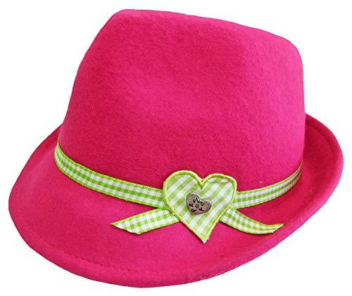 Kinder Trachtenhut Herz für Mädchen Pink Gr. 53 - Schöner Filzhut aus Wolle für Junge Madls zum Dirndl aufs Oktoberfest