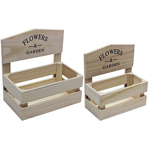 2er Set Pflanzbehälter Flowers & Garden Holz H21/24cm Pflanzgefäß Pflanzkasten Pflanzkübel Pflanzenkübel Pflanzentopf