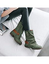 Botas Casual alto top planos para mujer,Sonnena Botas de cuero cortas de moda Zapatos de mujer de hebilla de cuero artificial Patchwork