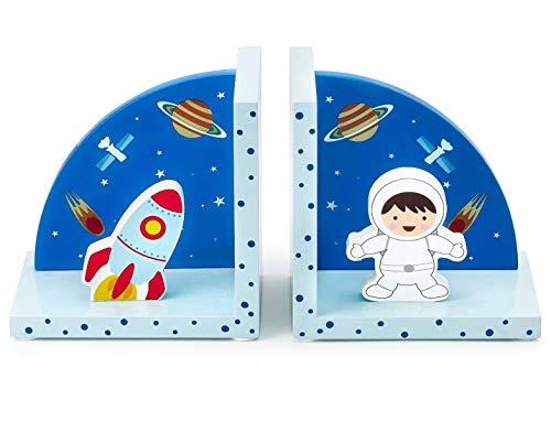 Mousehouse Gifts - Kinder 3D-Raketen-Buchstützen - aus Holz - Weltraum-Motiv