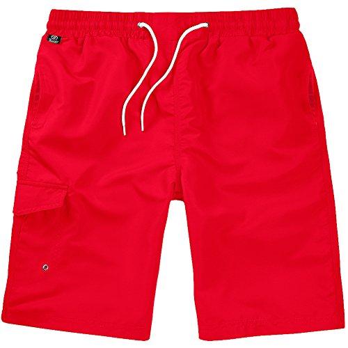 Brandit Uomo Costume da Bagno Rosso Taglia L/XL