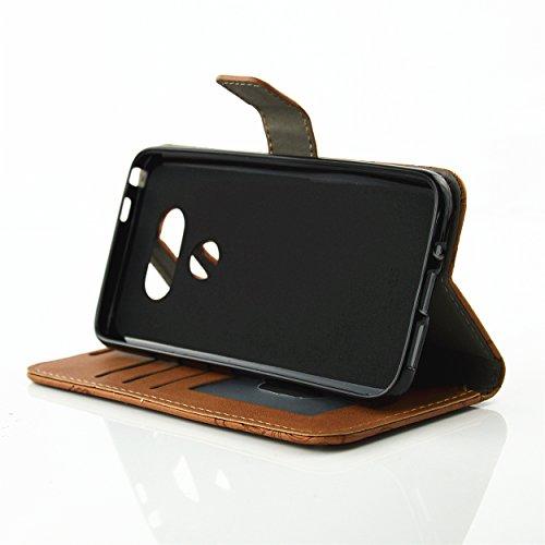 PU für LG G5 Hülle,Prägen Bunte Löwenzahn Geprägte Handyhülle / Tasche / Cover / Case für das LG G5 PU Leder Flip Cover Leder Hülle Kunstleder Folio Schutzhülle Wallet Tasche Etui Standfunktion Kredit 5