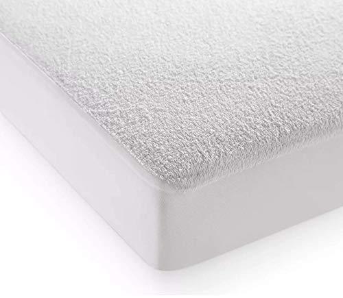 Highliving Coprimaterasso in spugna di cotone, impermeabile, anallergico, che non si sgualcisce, alto 30,48 cm, bianco, culla a navicella