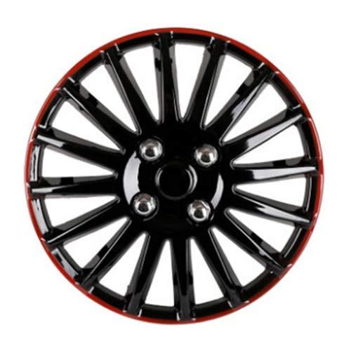XIAZHI-CHEL, 14' Auto Copricerchi Hub Tappi di plastica Coperchi Universale Nero Rosso