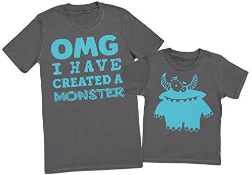 OMG I've Created A Azul Monster! - regalo para padres e hijos - camiseta de niño y camiseta de hombre - Charcoal Gris - XX-Large & 3-4 años