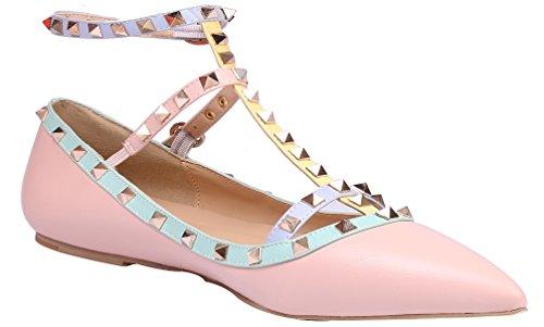 MONICOCO Übergröße Nieten Flache Spitze Zehen T-Spange Knöchelriemchen Geschlossene Ballerinas Pink