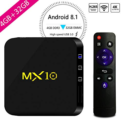 MX10 Android 8.1 TV Box 4GB + 32GB 4K Ultra HD Smart TV Box RK3328 Quad-Core 64bit CPU 2.4G Wifi 100M LAN 3D H.265 Set Top Box with Remote Control