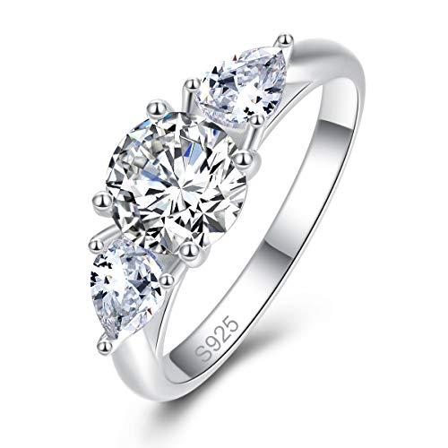Bonlavie Femme Bague Argent 925 Bague de Mariage Engagement Alliance Fiançaille de Zirconium Cubique