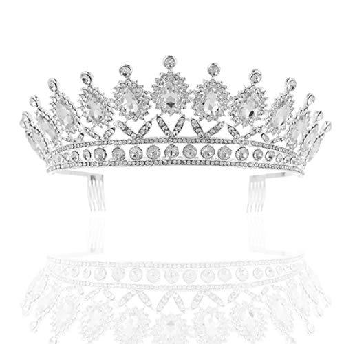 NKCTF-Crown Vintage Prinzessin Tiara Royal Pageant Hochzeit Krone Crystal Bridal Headpiece for Frau - Crown Royal Kostüm Mädchen