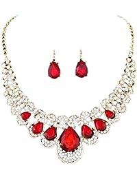 Gusspower Diamante flash pendientes del collar de juego de cena joyería vestido de novia Accesorios