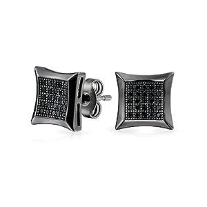 Bling Jewelry Mens Micro ebnen CZ Kite Stehbolzen schwarz rhodiniert Silber