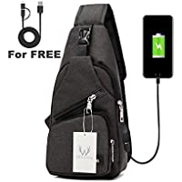 ElkisComing - Bolso bandolera con puerto de carga USB para hombres y mujeres, mochila de viaje ligera