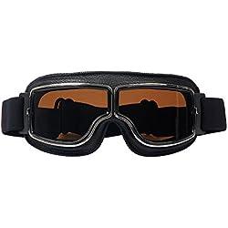 LEAGUE&CO Gafas de Moto Retro Vintage Gafas de Protección Gafas Piloto Gafas de Aviador, Gafas para Casco Harley Davidson Dyna Touring Trike Motocross Marco Negro, Lente Marron