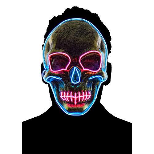 KOBWA Halloween Kostüm Maske Schädel Leuchten Maske LED Glühend für Party Festival