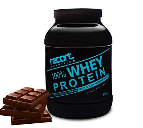 Recort Nutrition Whey Protein Eiweißpulver   Low Carb Eiweißshake mit Aminosäuren und BCAA   Proteinpulver für Muskelaufbau, Abnehmen, Diät, Fitness und Bodybuilding   Hergestellt in Deutschland   SCHOKOLADE   900g  