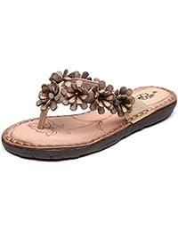 Qiusa Infradito piatto in pelle vintage con fiore e sandali (Colore    Viola 9c680d63860