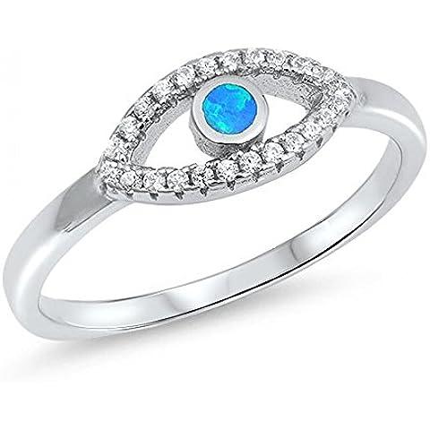 Sterling Silver Evil Eye Lab opale gemma (Evil Eye Anello)