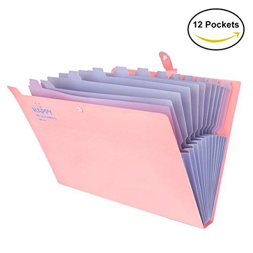 Fächermappe Ordner yigou Buchstabe A4-Papier Taschen Akkordeon Dokument Veranstalter 12 Taschen