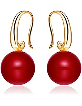 Merdia Charme rot Simulierte Perlen-Tropfen-Ohrring -12MM