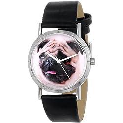 Reloj de cuarzo para hombre, con correa de cuero, color negra