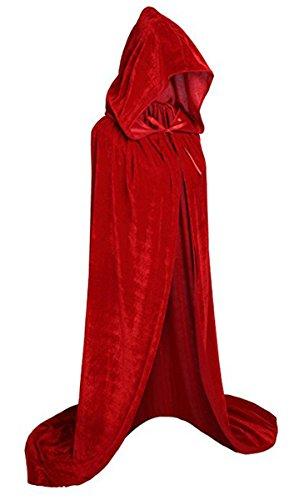UnisexDamen Herren Mantel Kostüm Cape mit Kapuze Umhang für Erwachsene für Halloween Party Kostüm 130CM