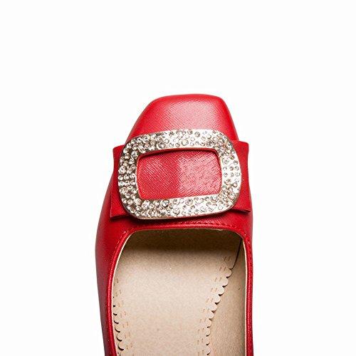 MissSaSa Donna Scarpe col Tacco Blocco Alto Elegante Rosso