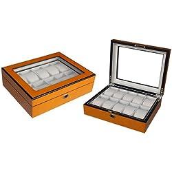 Hochwertige Uhrenbox Woolux für 10 Uhren Holz verschließbar Sichtfenster aus Echtglas