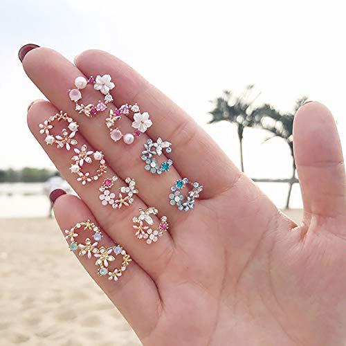 Sanwood Koreanische Modische Kleine Frische Kranz Ohrring Stud Lady Sweet Temperament Blume Eardrop Mini Date Party Schmuck Geschenk EIN