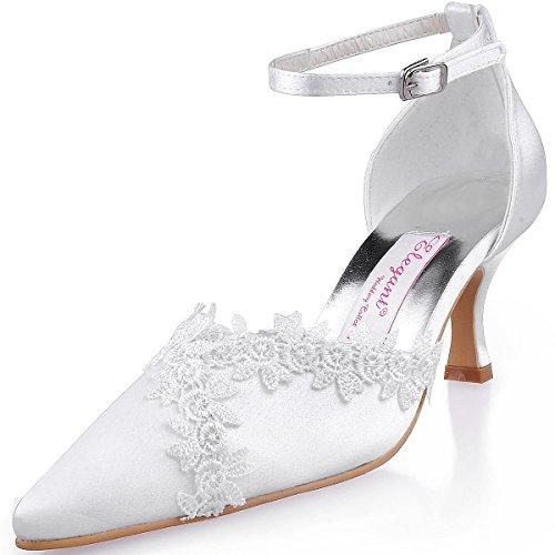 ElegantPark A1049 Donna Pointed Toe Applique Cinturino Alla Caviglia Spool Molto Raso Sposa Scarpe Da Sera Avorio