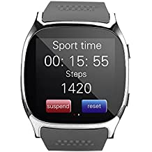 DXABLET8 Bluetooth Smart Watch, reloj de pulsera con cámara Reproductor de música Facebook WhatsApp Sync SMS Smartwatch Soporte SIM TF tarjeta para para el iPhone 7 8 7 Plus 6 Samsung S8 y otros teléfonos inteligentes Android o iOS (Negro)