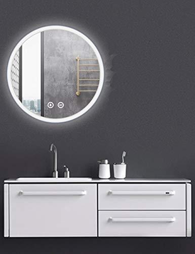 Pandafan - Espejo de baño con iluminación LED, luz blanca fría, iluminación de pared, sensor táctil...