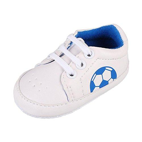 Itaar Babyschuhe Turnschuhe Fußball Muster mit atmungsaktiver Löcher und weicher rutschfester Sohle für Babys und Kinder 3-18 Monate (12-18 Monate, Blau)