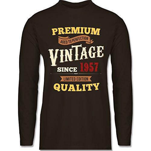 Geburtstag - 60. Geburtstag Vintage 1957 - Longsleeve / langärmeliges T-Shirt für Herren Braun