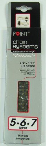 POINT Fahrrad Kette 116 Glieder ~ für 5-/6-/7-fach Zahnkranz ~ passend für Ketten-Schaltsysteme bis 21-Gang