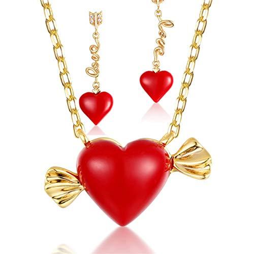 WANZIJING Herz Candy Anhänger Schmuck Set, Sterling Silber rote Koralle Halskette Ohrringe Strandhochzeitsschmuck für Sie,JewelrySet